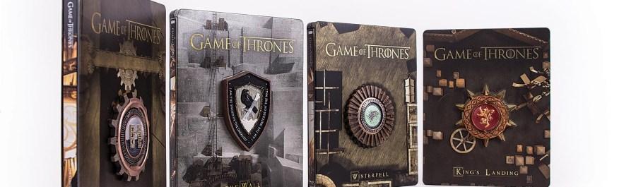 Warner lana maravilhosos steelbooks de game of thrones em edio cada box vendido ao preo sugerido de r 14990 e trazem alm de todos os episdios dezenas de horas de contedo extras de game of thrones fandeluxe Gallery