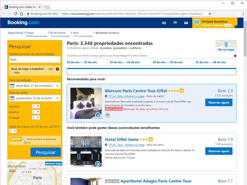 planejamento viagem - pesquisa de hotel no Booking.com