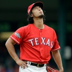 Texas Rangers' Yu Darvish of Japan looks skyward after giving up a solo home run to Toronto Blue Jays' Edwin Encarnacion in the fifth inning of Game 2 of baseball's American League Division Series, Friday, Oct. 7, 2016, in Arlington, Texas. (AP Photo/LM Otero)