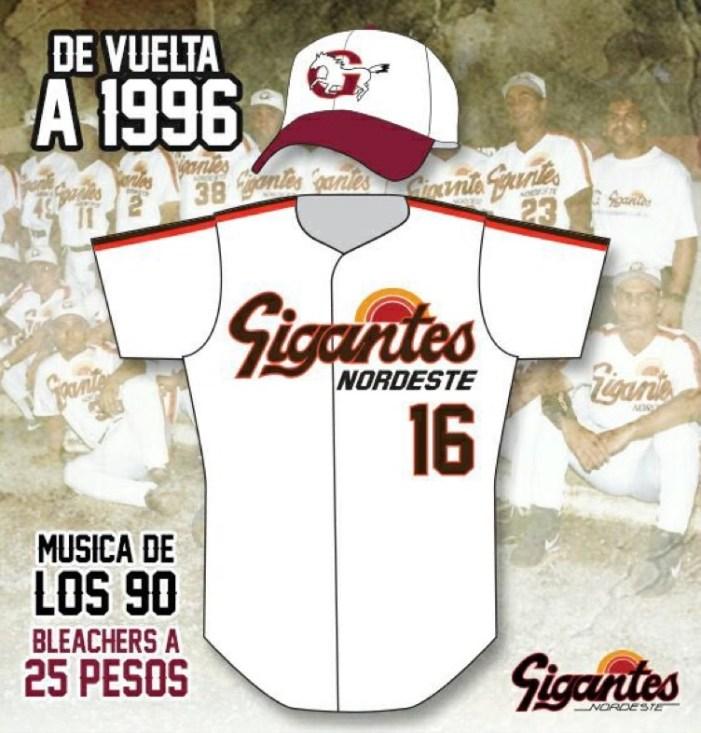 Gigantes tendrán este domingo la promoción 'De vuelta al 1996' El uniforme y la música serán de los años 90's