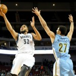 LINCOLN, NE - OCTOBER 12: Karl-Anthony Towns #32 of the Minnesota Timberwolves shoots a lay up against the Denver Nuggets during a preseason game on October 12, 2016 at Pinnacle Bank Arena in Lincoln, Nebraska. NOTE TO USER: User expressly acknowledges and agrees that, by downloading and or using this Photograph, user is consenting to the terms and conditions of the Getty Images License Agreement. Mandatory Copyright Notice: Copyright 2016 NBAE (Photo by Eric Francis/NBAE via Getty Images)