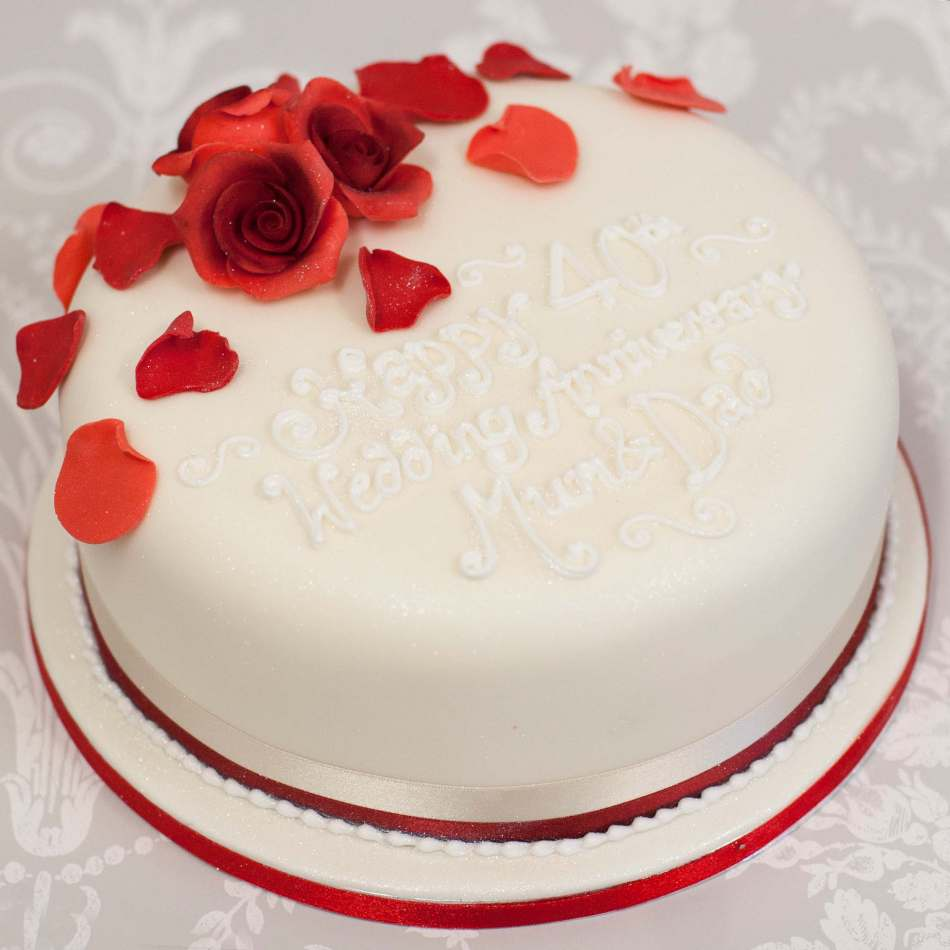 Ruby Wedding Anniversary Cake   Red Rose Cake   Edinburgh   Glasgow Red Rose Petal Cake
