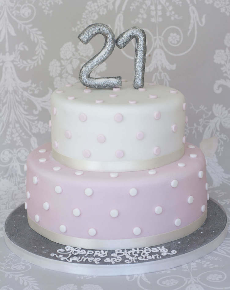 Silver And Pink Two Tier Cake Celebration Birthdays