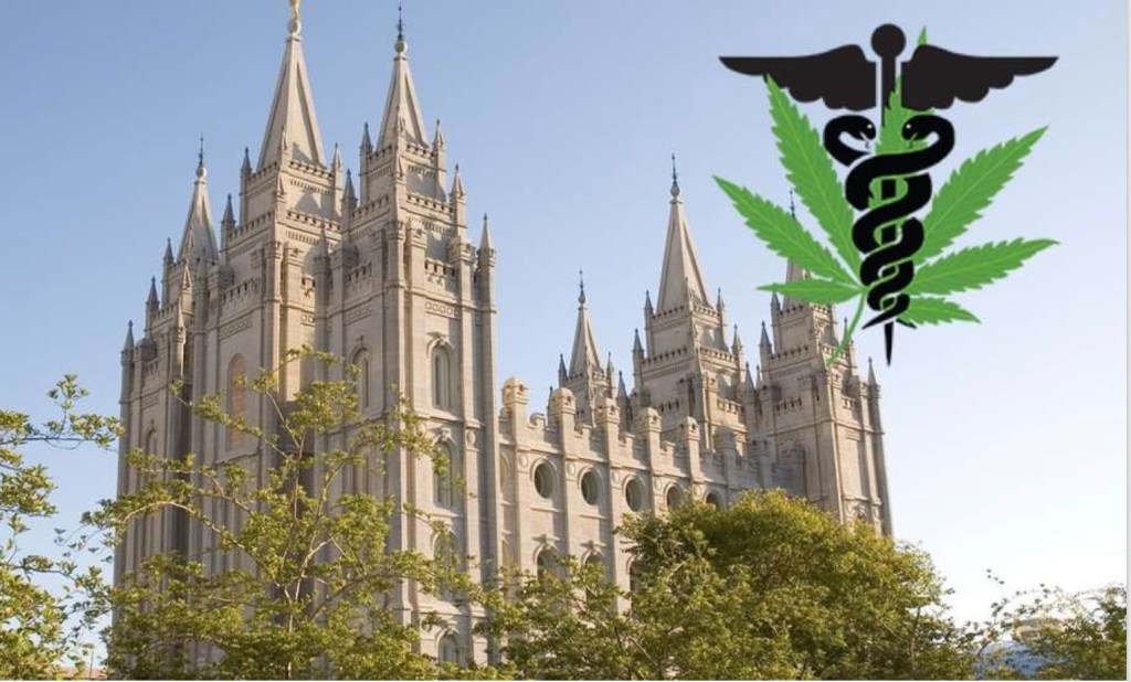 Utah Mormons vs Medical Marijuana illustration with Mormom cathedral, cadeucius and marijuana leaf