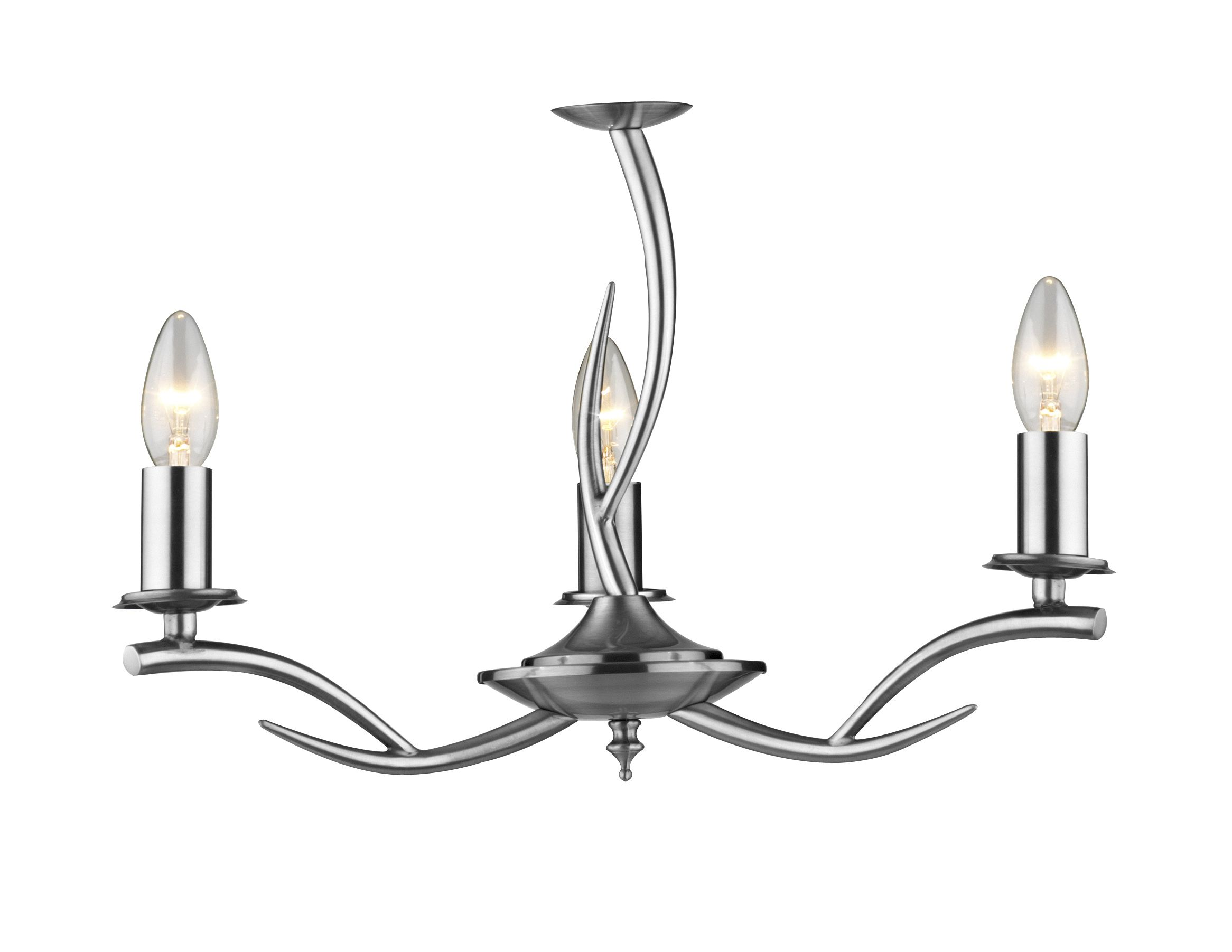 0 3 Elka 3 Light Satin Chrome Ceiling Light Class 2 Double