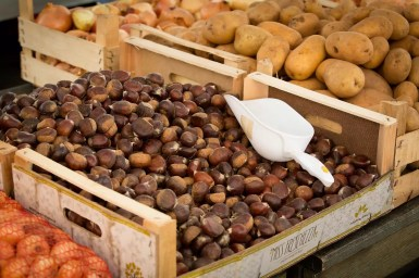 Chestnuts at the market. These were also commonly sold from a roaster on the street.