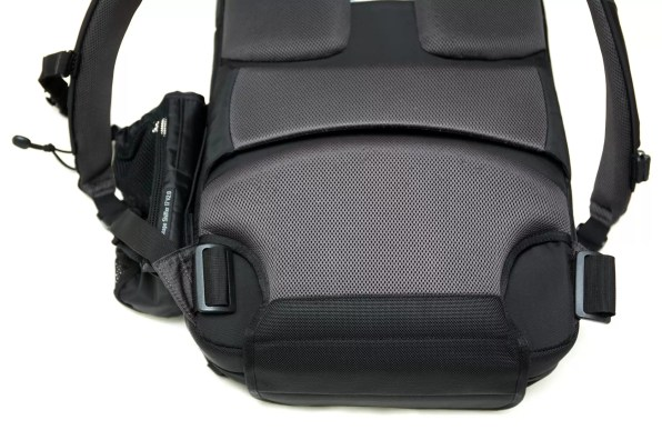 Here, the waistbelt has been removed from the bottom of the bag; it would normally attach to the lower-corner buckles.