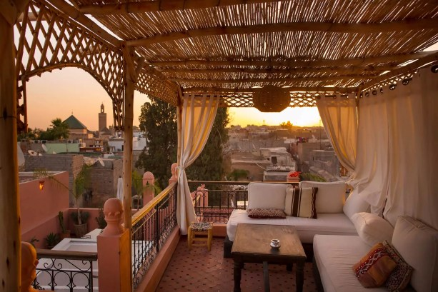 The rooftop terrace at the Riad Sun of Kech was beautiful at sunrise (and the rest of the day).