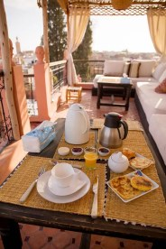 My first morning's breakfast on the terrace.