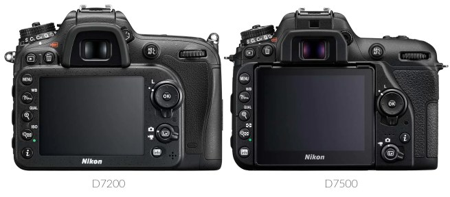 Aside from the presence of the new tilt screen, the back of the D7500 is mostly unchanged from the D7200. The positions of the right info button and the live-view switch have been flipped.