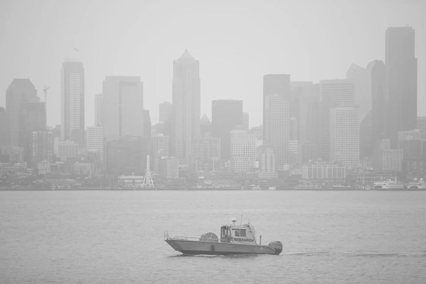Downtown from West Seattle, in the September smoke.
