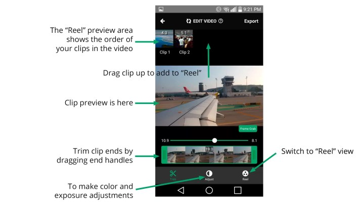 The basic video clip editing options on the Gnarbox. Adjustment controls are the same as those available for still images.