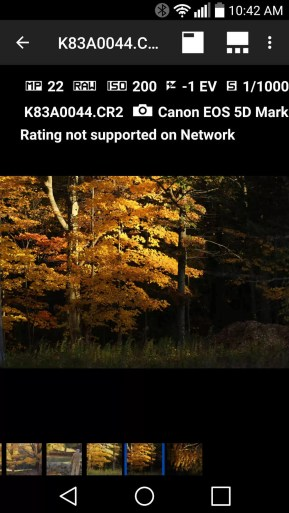 Third-party apps like Photo Mate R3, pictured here, allow you to browse RAW files from the drive, but as you can see, rating is not supported over the network connection.