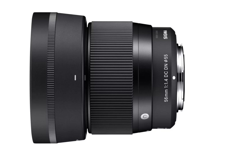 sigma-56mm-f1.4-contemporary-lens-side-with-hood