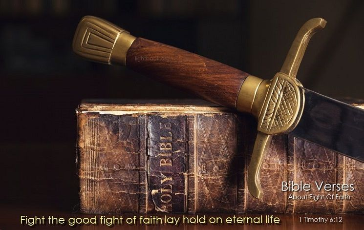 Bible Verses about Fight Of Faith in English and Arabic