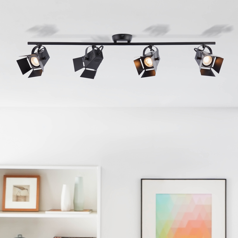 plafonnier spot led moderne 4x led gu10 5w incl 4x 345 lumen 3000k blanc chaud metal noir mat