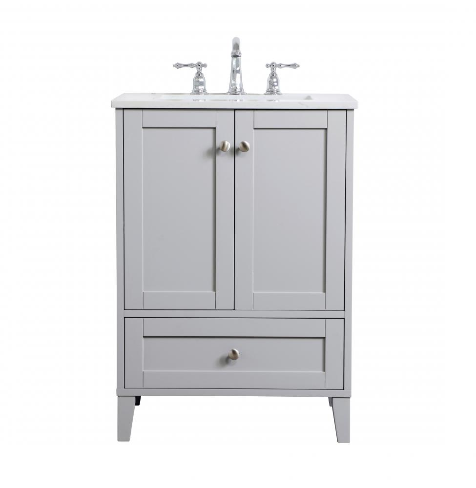 24 inch single bathroom vanity in grey