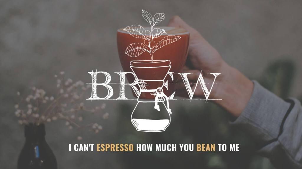 Red mug of coffee in Ventura coffee shop