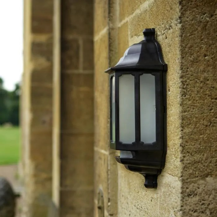 asd hi lo coach led half lantern outdoor wall light with dusk to dawn and pir sensor black