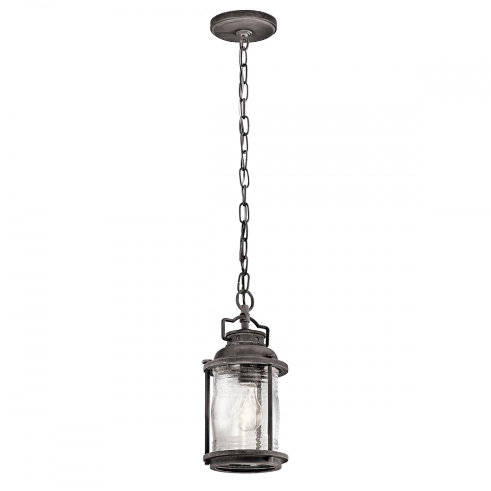 ashland bay exterior pendant in weathered zinc with clear seeded glass