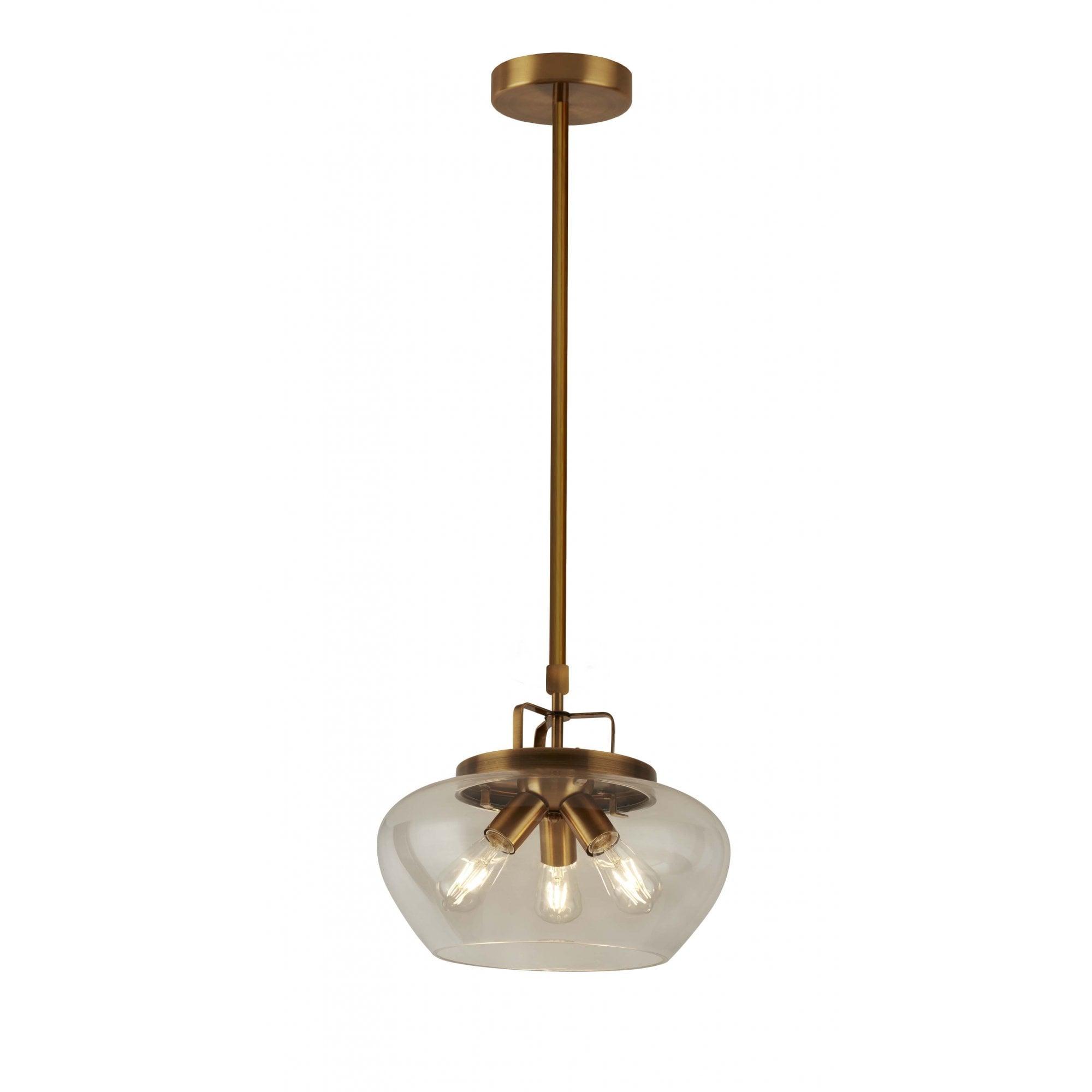 boule 3 light ceiling pendant bronze clear