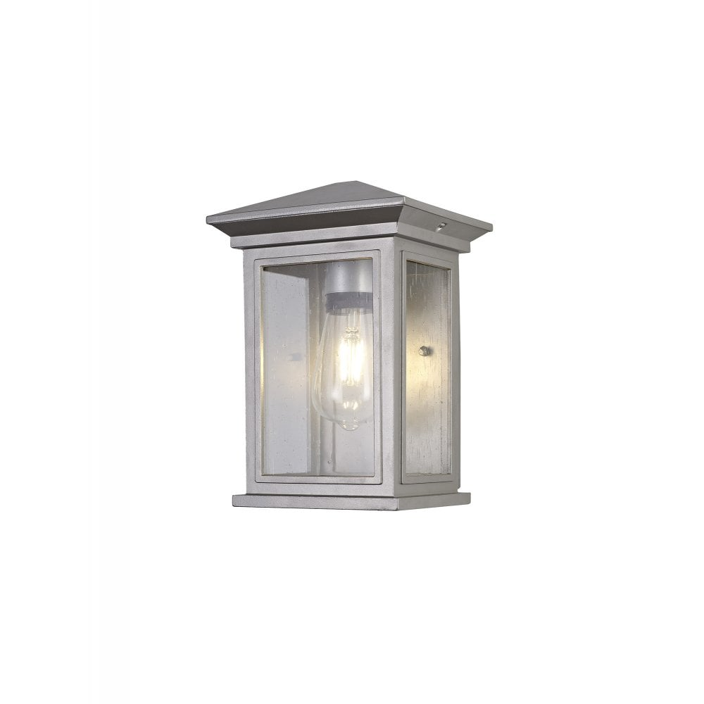 cura exterior vintage style flush wall light ip54 silver grey clear finish with seeded glass