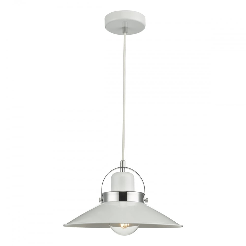 liden single contemporary industrial ceiling pendant in white and chrome