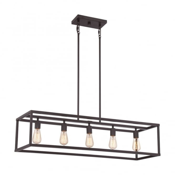 Vintage Boxed Ceiling Bar Pendant In Bronze For Over Table Lighting