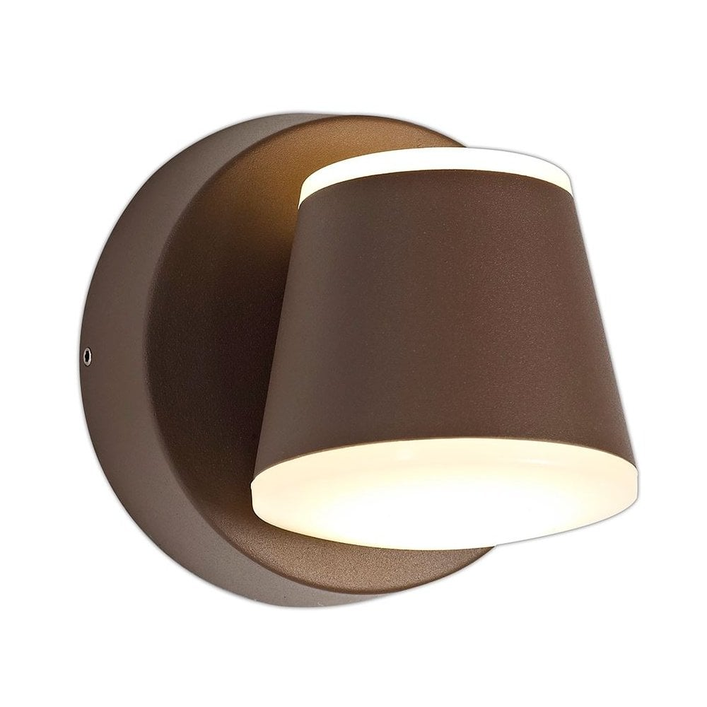 paolo 2 light led outdoor wall light in dark brown finish