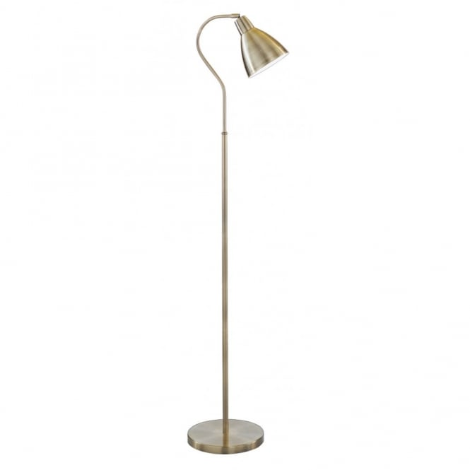 Floor Standing Lamp In Antique Brass With Adjustable Head