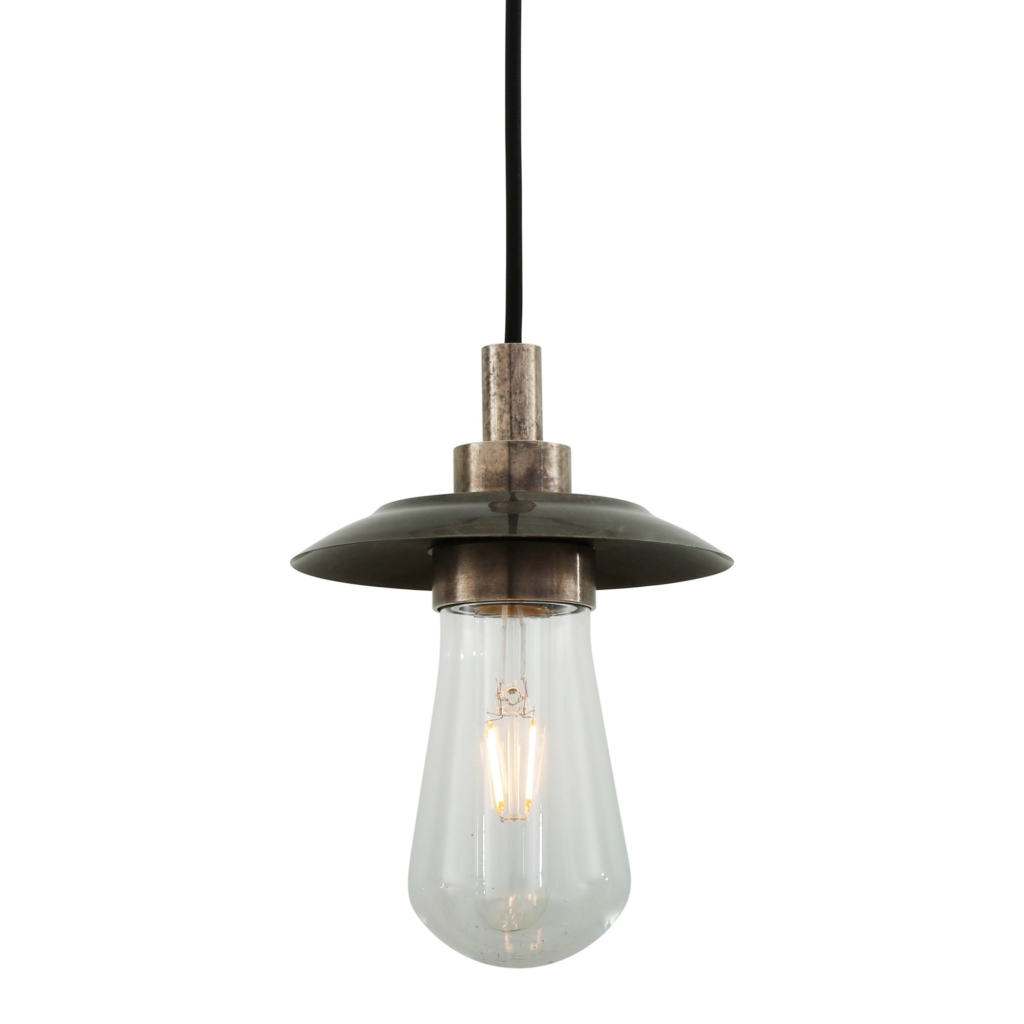 ren industrial antique silver bathroom pendant with clear glass