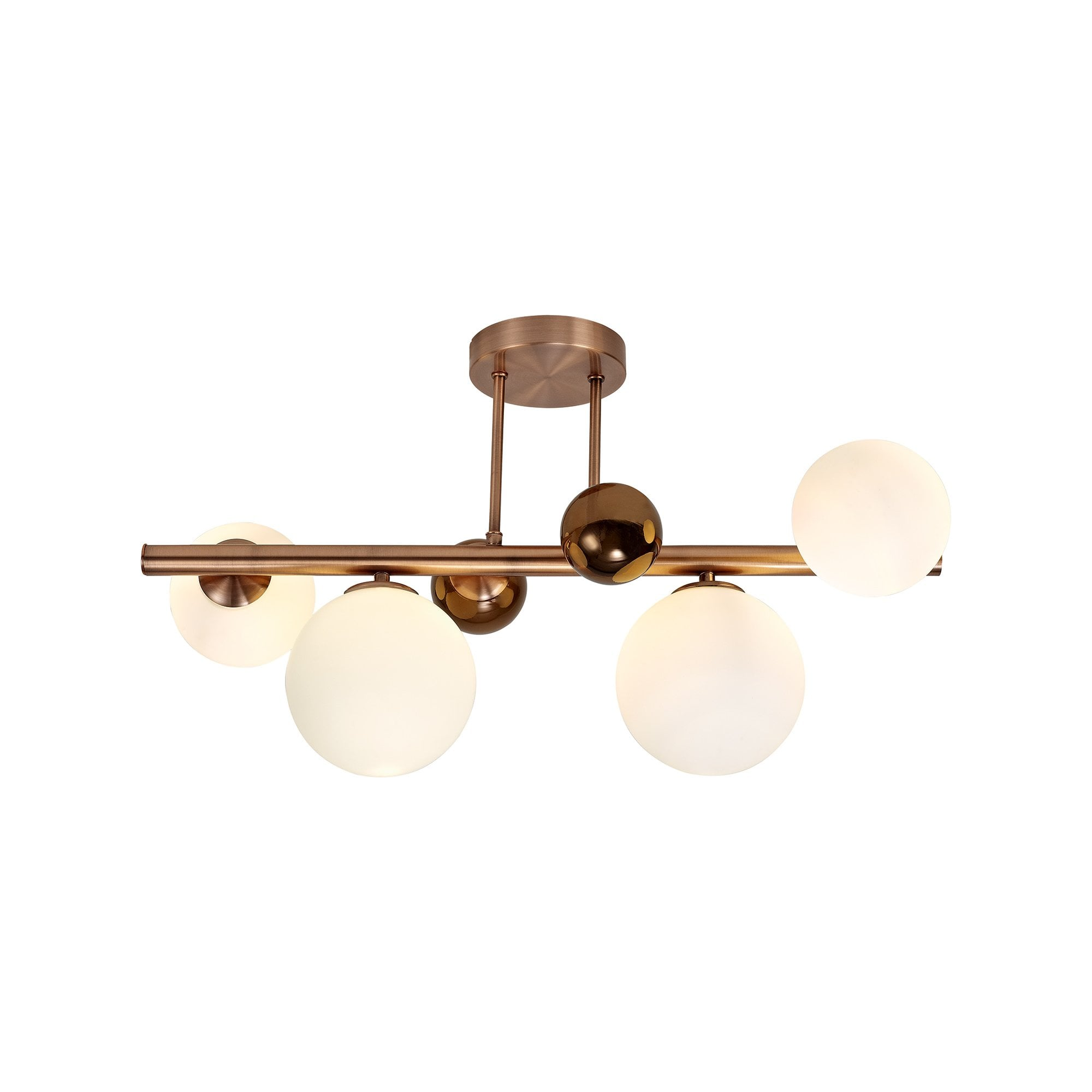 rylee 4 light semi flush ceiling fitting antique copper with opal glass globes