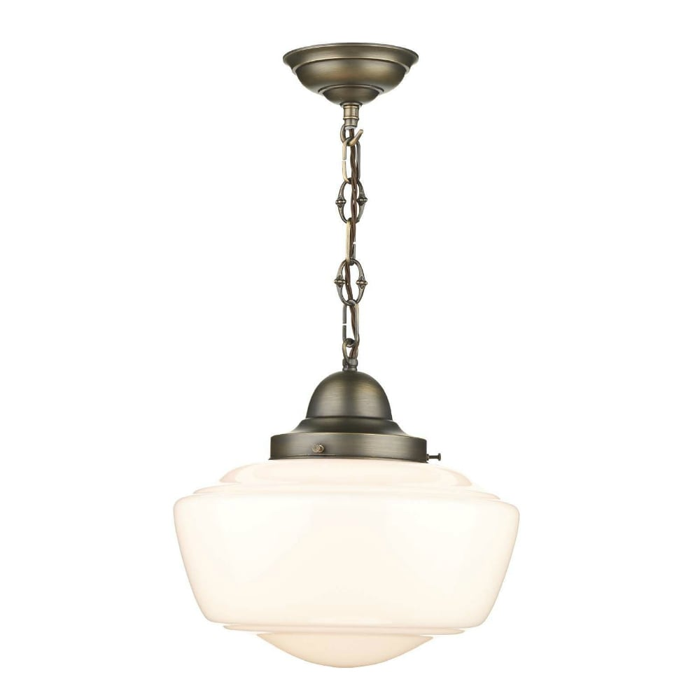 stowe vintage schoolhouse style ceiling pendant with opal glass shade