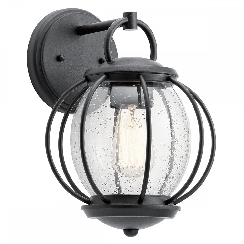 vandalia modern outdoor carriage lantern in black with seeded glass
