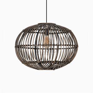 Somerset Rattan Pendant Hanging Lamp Off Large Black Wash