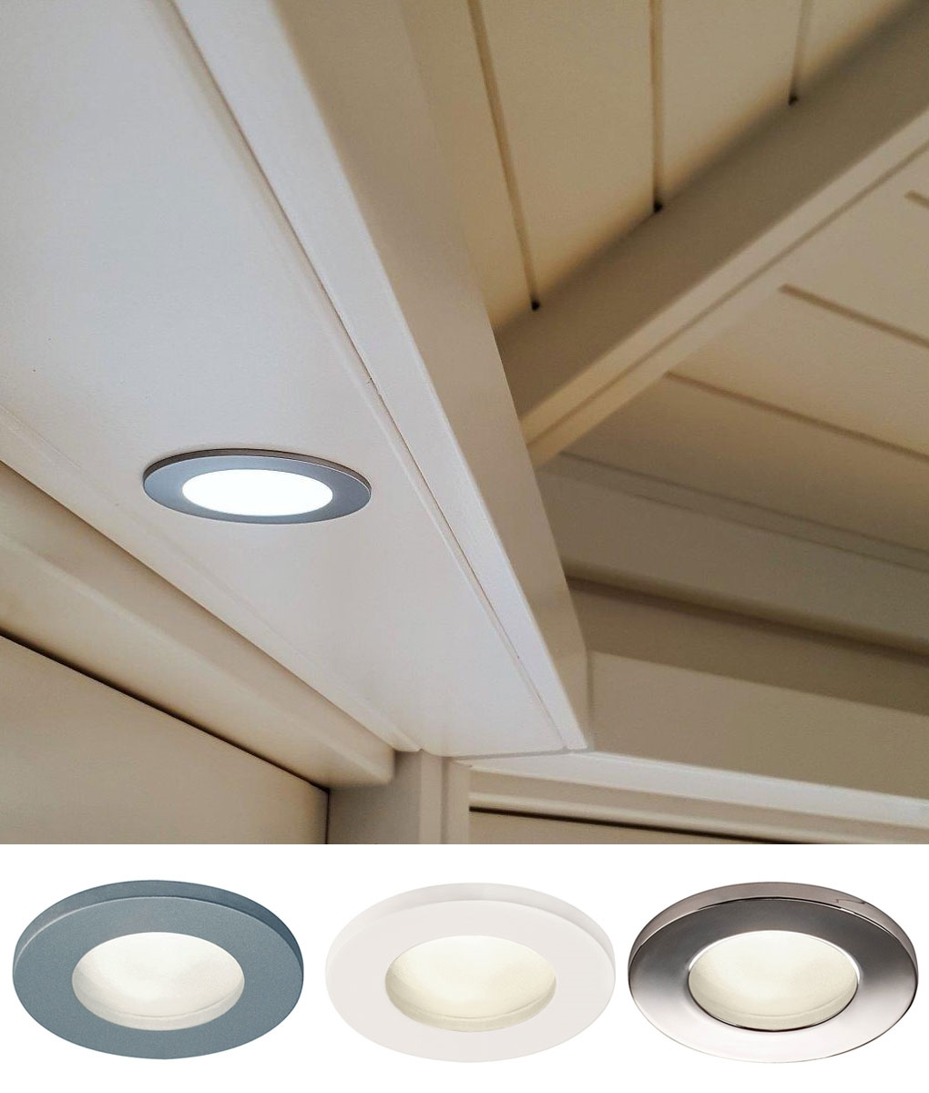 mains ip65 round frosted glass downlight 3 finishes