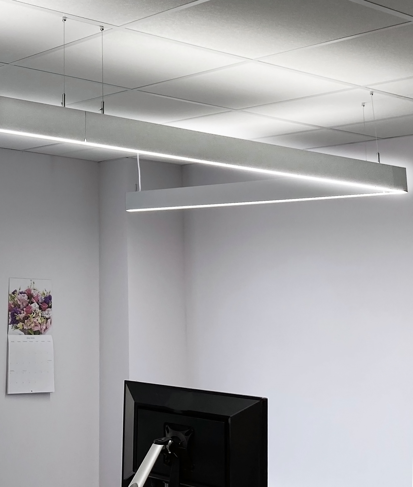 slim sleek suspended led linear module easily linkable for a continuous profile