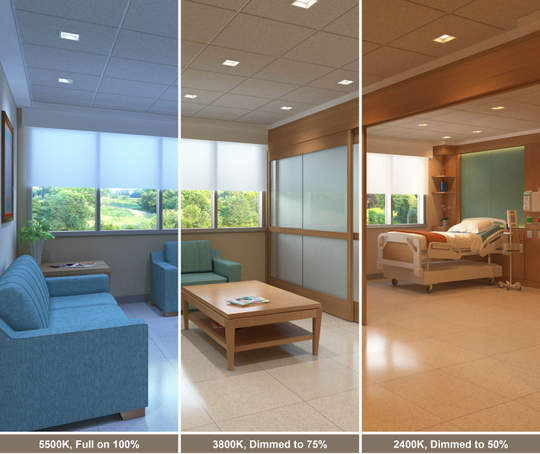 Tunable-white lighting offers the ability to dramatically change how a space appears. Shown here are three different dim levels and color outputs for three applications: a healthcare environment (a), a kitchen (b) and an office space (c). Images courtesy of USAI Lighting.