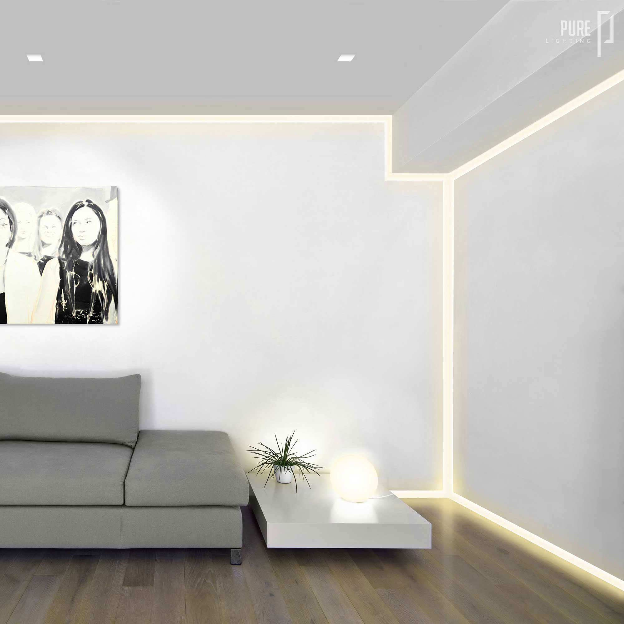 verge wall 2 5w plaster in system by pureedge lighting vg 2wdc 5ft 27k