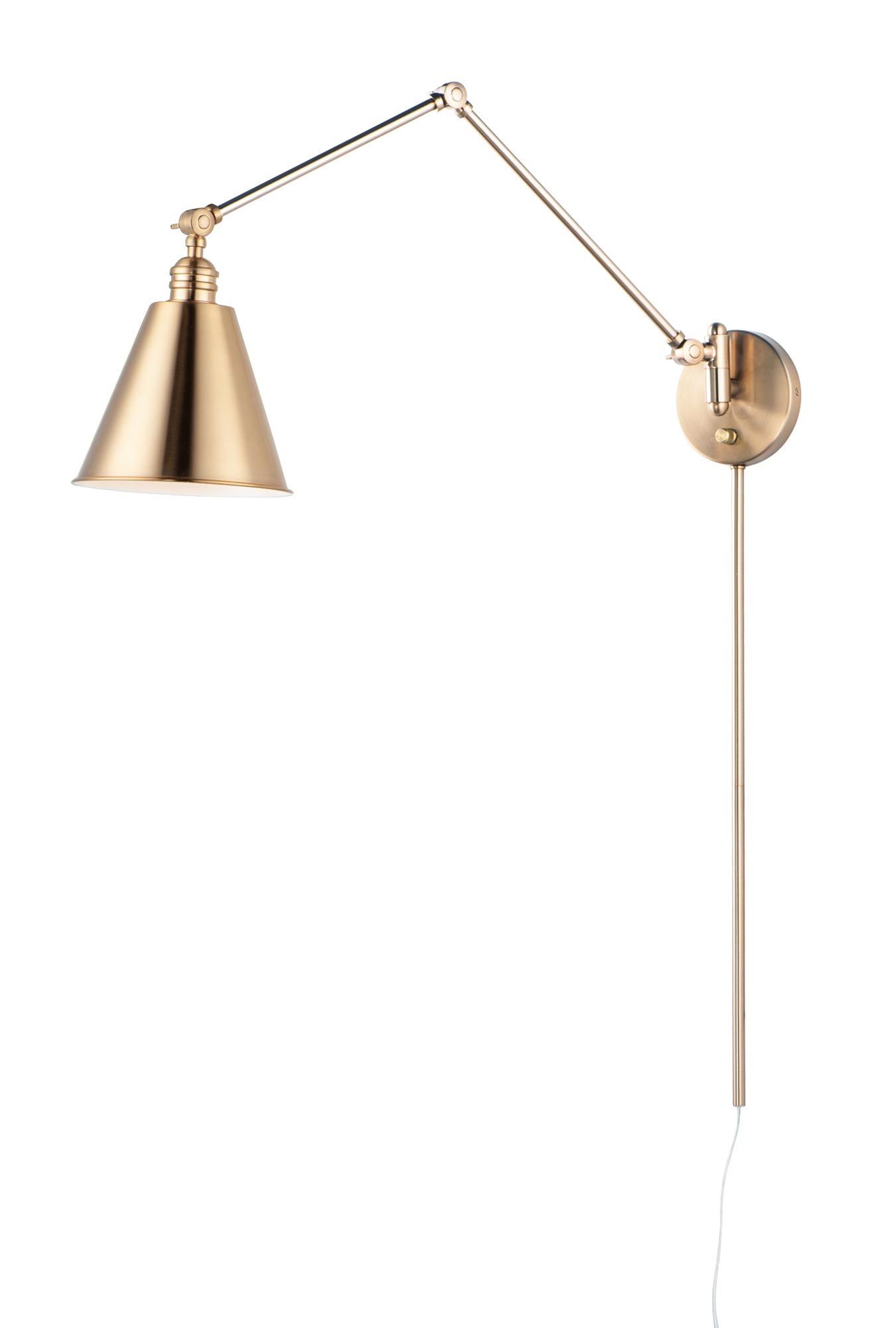 library swing arm wall sconce w cord and plug by maxim lighting 12224hr