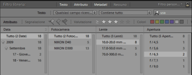 lightroom barra filtro libreria metadati testo attributi