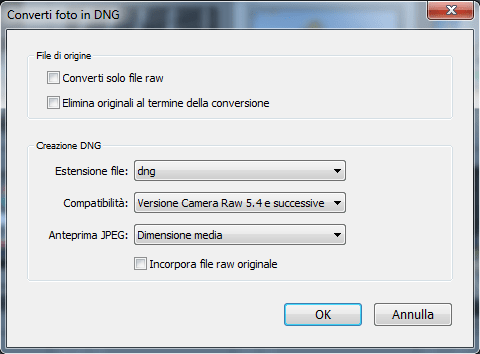 03 lightroom raw dng conversione importazione preferenze gestione file copia