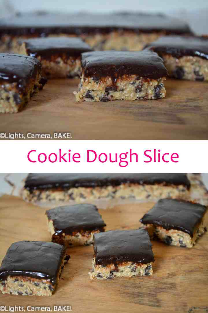 This no bake cookie dough slice doesn't contain flour or eggs! Click the photo for more information and the #recipe #dessert #baking