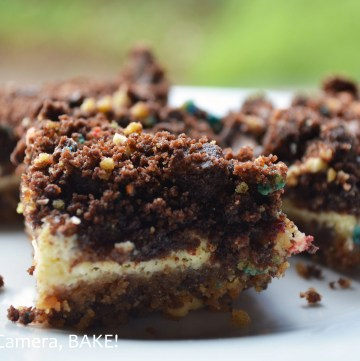 Leftover Cookies #Cheesecake Bars. I admit, that is an odd name. Though, this is an odd recipe. Click the photo for the recipe and explanation. Trust me, you will want to! #leftovers