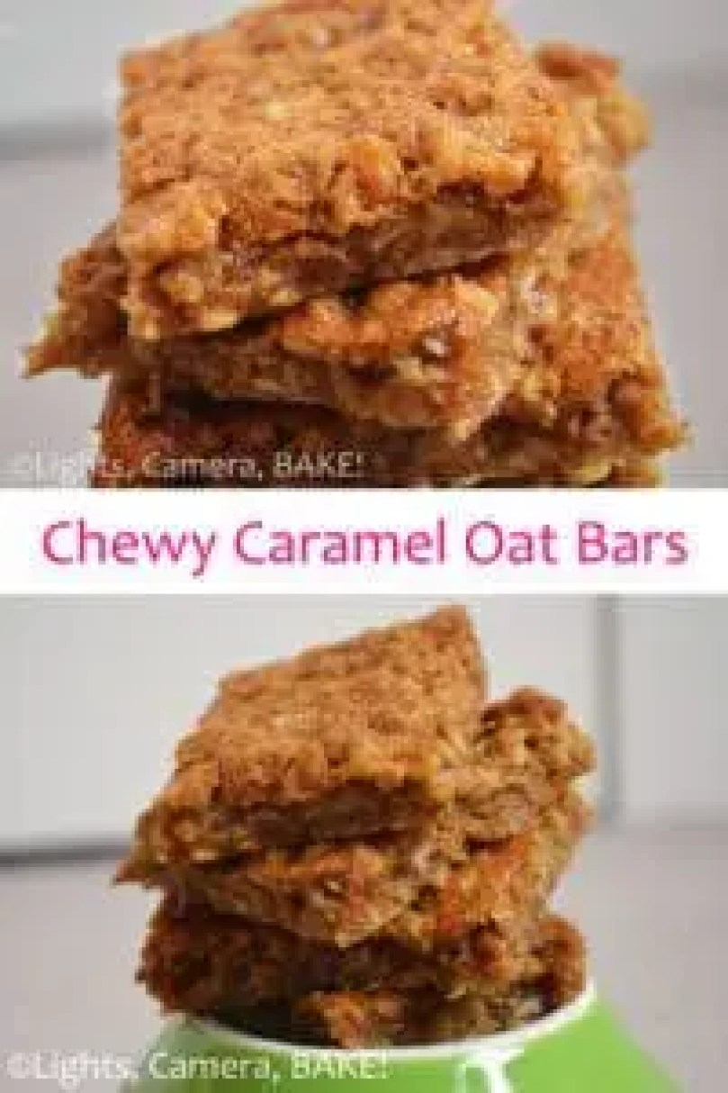 Chewy Caramel Oat Bars: Chewy, sticky, gooey, sweet, caramel, oaty goodness captured in one slice! Give them a go! Click the photo for the #recipe . #Caramel #OatSlice