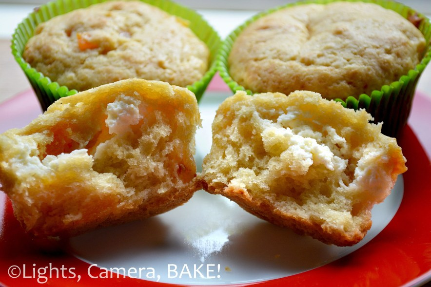 Apricot Cream Cheese Muffins. A light, airy vanilla #muffin filled packed full of chopped dries apricots with a surprise sweet cream cheese center! Click the photo for the #recipe . #apricotcreamcheesemuffins