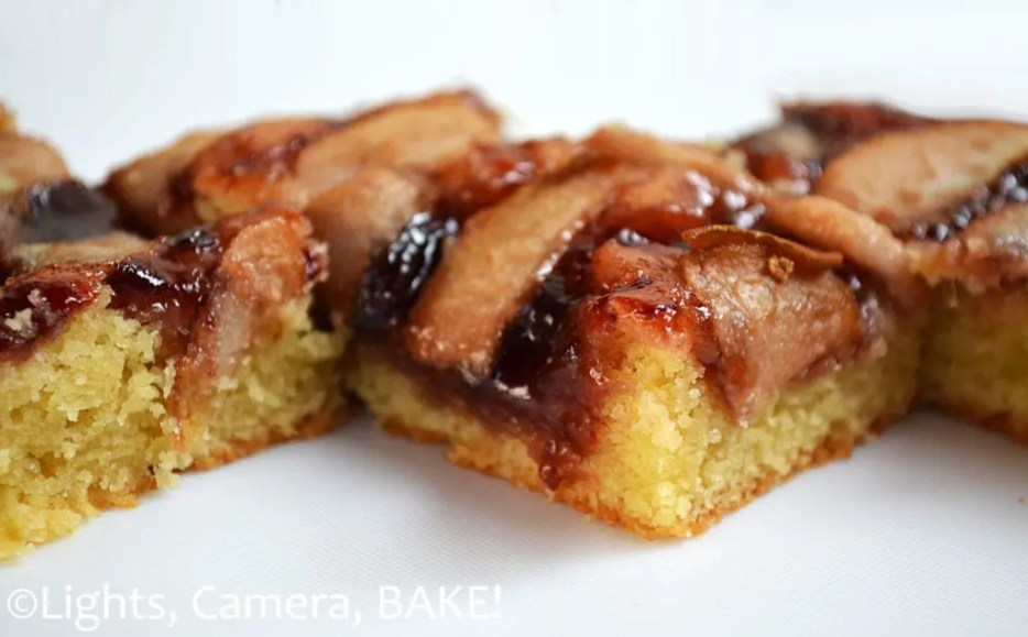 This Plum and Pear Slice uses a alomond shortbread base topped with black doris plum jam and sliced fresh or tinned pears! This is a gorgeous morning or afternoon tea! Click the photo for the #recipe . #blackdorisplum #shortbreadslice