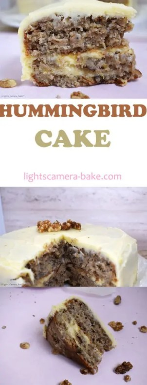 Hummingbird Cake is a super moist pineapple, banana and walnut cake topped and filled with cream cheese icing. #hummingbirdcake #bananacake #hummingbirdcakerecipe #vegancake #creamcheeseicing #bananacakerecipe
