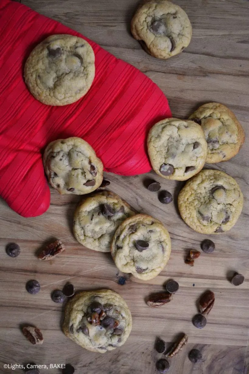 Candied Pecan Chocolate Chip Cookies are soft and chewy chocolate chip cookies with a secret ingredient.... Maple syrup! And the addition of candied maple pecans. These cookies salty, sweet, have a nice maple undertone and of course, packed full of chocolate chips!