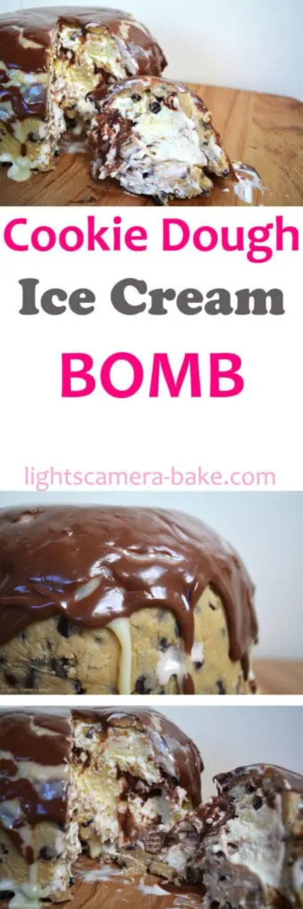 Cookie Dough Ice Cream Bomb is an over-the-top frozen treat that consists of a cookie dough case and filled with ice cream, chocolate sauce, white chocolate ganache, KitKats and finished off with Nutella and more white chocolate ganache!